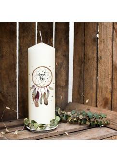 Hochzeitskerze Kerze zur Hochzeit Trauung Traukerze Vermählung mit Traumfänger Wunschnamen & Datum wk93