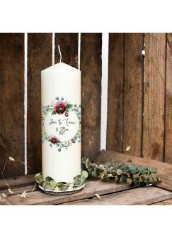 Hochzeitskerze Kerze zur Hochzeit Trauung Traukerze Vermählung mit Blumenkranz floral Wunschnamen & Datum wk95