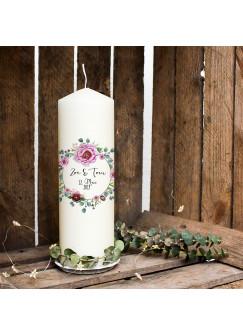 Hochzeitskerze Kerze zur Hochzeit Trauung Traukerze Vermählung mit Blumenkranz Pfingstrose Wunschnamen & Datum wk96