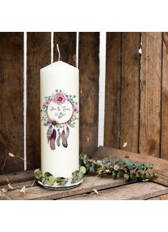 Hochzeitskerze Kerze zur Hochzeit Trauung Traukerze Vermählung mit Blumenkranz Traumfänger Wunschnamen & Datum wk97