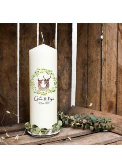 Hochzeitskerze Kerze zur Hochzeit Trauung Traukerze Vermählung mit Blumenkranz Reh Rehpärchen Wunschnamen & Datum wk98