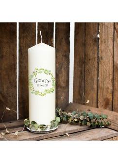 Hochzeitskerze Kerze zur Hochzeit Trauung Traukerze Vermählung mit Blumenkranz floral Wunschnamen & Datum wk99