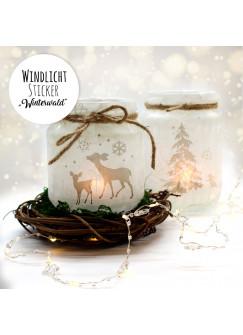 Feenlicht Feenwindlicht DIY Weihnachtsdeko Weihnachten Rehe Winterwald Tanne Sterne Schneeflocken Lichtdeko Winter Aufkleber Glas Sticker wl2