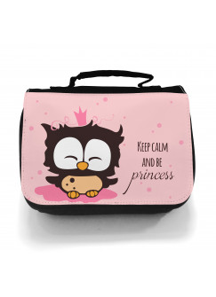 Waschtasche Eule Prinzessin keep calm in rosa wt011