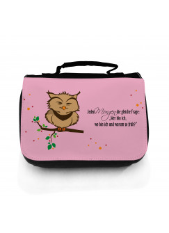 Waschtasche Eule auf Ast Jeden Morgen die gleiche Frage... in rosa wt042