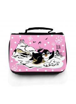 Waschtasche Pinguine auf Eisscholle mit Schneeflocken und Wunschname in rosa wt049