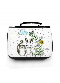 Waschtasche Kosmetiktasche Hase und Katze mit Wunschnamen wt107