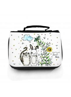 Waschtasche Kosmetiktasche 2-er Set Hase und Katze mit Wunschnamen wt107S