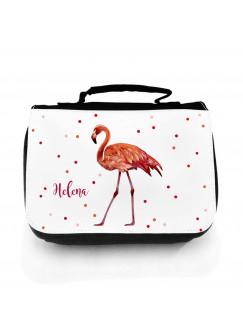 Waschtasche Flamingo mit Punkten und Namen wt134