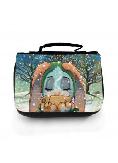 Waschtasche Waschbeutel Hase mit Teetasse Kulturbeutel Kosmetiktasche Reisewaschtasche mit Name Wunschname wt165