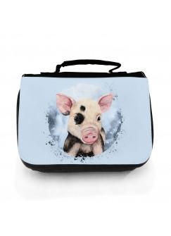 Waschtasche Waschbeutel mit Schwein Schweinchen Kulturbeutel Kosmetiktasche Reisewaschtasche individuell Motiv Tier wt215