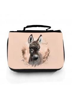 Waschtasche Waschbeutel mit Esel Kulturbeutel Kosmetiktasche Reisewaschtasche individuell Motiv Tier wt217