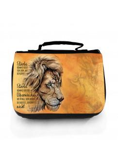 Waschtasche Waschbeutel mit Löwe Löwenkopf Spruch Stärke kommt von Überwindung Kulturbeutel Kosmetiktasche Reisewaschtasche Tier wt218