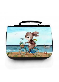 Waschtasche Waschbeutel Hase Häschen auf Fahrrad Kulturbeutel Kosmetiktasche Reisewaschtasche individuellem Wunschnamen wt226