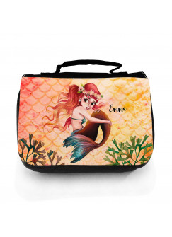 Waschtasche Waschbeutel Meerjungfrau rot gelb Kulturbeutel Kosmetiktasche Reisewaschtasche individuellem Wunschnamen wt230