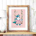 A3 Print Illustration Einhornposter Einhornplakat Poster Plakat mit Einhorn Mädchen kleines Einhorn auf Schaukel A3 Print illustration unicorn poster unicorn girl placard with little unicorn on swing p74