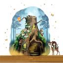 Elfentür aus Echtholz mit zauberhaftem Baumhaus in geheimnisvollem Zauberwald mit Elfe Anouki, Rehlein Belli, Eichhörnchen Bo und Eisvogel Eleven door from real wood with a magical tree house in mysterious magic forest with elf Anouki and deer Belli, squi