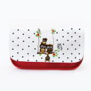 Federtasche Kosmetiktasche Eule auf Schaukel mit Punkten f070 Pencil case cosmetic bag Owl on swing with butterfly f070