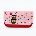 Federtasche Kosmetiktasche Eulen mit bunten Punkten und Schmetterling f077 Pencil case cosmetic bag owls with colorful dots and butterfly f077