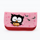 Federtasche Kosmetiktasche Eule mit Punkten und Federn f080 Pencil case cosmetic bag owl with dots and feathers 080