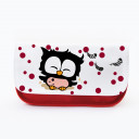 Federtasche Kosmetiktasche Eule mit Punkten und Federn f081 Pencil case cosmetic bag owl with dots and feathers 081