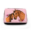 Gefüllte Federtasche Pferd mit Fohlen Punkten und Blumen fm044 Filled pencil case horse with foal dots and flowers fm044