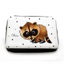 Gefüllte Federtasche Waschbär mit Punkten und Wunschnamen filled pencil case raccoon with dots and desired name fm069