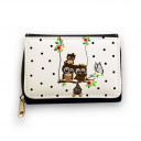 Hauptbild Portemonnaie Geldbörse Eulen auf Schaukel mit Schmetterling und Blüten wallet purse with owls on swing with butterflies and blossoms gk048