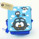 Hauptbild Rucksack Kinderrucksack Kindergartentasche Kindertasche Tasche fliegende Eulen mit Wolken und Wunschname kids backpack kindergarden bag child bag flying owls with clouds and desired name kgn006