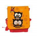 Hauptbild Rucksack Kinderrucksack Kindergartentasche Kindertasche Tasche Eulchen mit Schmetterling Punkten und Wunschnamen in orange  kids backpack kindergarden bag child bag owls with butterfly dots and desired name in orange kgn028