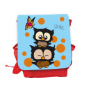 Hauptbild Rucksack Kinderrucksack Kindergartentasche Kindertasche Tasche Eulchen mit Schmetterling braunen Punkten und Wunschnamen in blau kids backpack kindergarden bag child bag owls with butterfly brown dots and desired name in blue kgn033