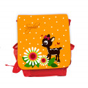 Hauptbild Rucksack Kinderrucksack Kindergartentasche Kindertasche Tasche Reh Rehkitz mit Blumen Punkten Schmetterlingen und Wunschnamen in orange kids backpack kindergarden bag child bag deer fawn with flowers dots butterflies and desired name in orange k