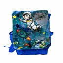 Kinderrucksack mit Astronaut Rakete Mond Sterne und Planeten im Weltraum kids backpack with astronaut space shuttle moon stars and planets in outer space kgn050