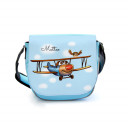 Kindergartentasche Kindertasche Umhängetasche Schultertasche Tasche Flugzeug Doppeldecker Flieger mit Eule und Wunschnamen kindergarten bag children bag shoulder bag biplane airplane with owl and custom name kgt23