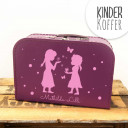Kinderkoffer Koffer Mädchen mit Schneeflocken Schmetterlingen und Punkten children suitcase girls with snowflakes butterflies and dots kos10