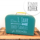 Kinderkoffer Koffer dein erstes Jahr mit Pfeil Wunschnamen und Geburtstag türkis children suitcase your first year with arrow desired name and date of birth turquoise kos1