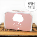 Kinderkoffer Koffer Wolke mit Herzen und Wunschname rosa Children suitcase cloud with hearts and desired name rose kos4c
