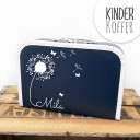 Kinderkoffer Koffer Pusteblume mit Schmetterlingen marineblau children suitcase dandelion with butterflies navy blue kos5a