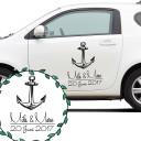 Autoaufkleber Autotattoo Hochzeit Maritim mit Anker Namen und Datum Car sticker car tattoo wedding with anchor desired names and wedding date M2139_H.jpg