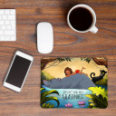 Mousepad Mouse pad Mauspad Mausunterlage Dschungel mit Bär Puma wilder Junge und Spruch versuch's mal mit Gelassenheit Mousepad mouse pad jungle with bear cougar wild boy and quote saying try times with serenity mp02