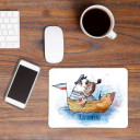 Mousepad Mouse Pad maritime Mausunterlage Hund Käptn Dogge im Boot mit Spruch Küstenkind Seehund mousepad mouse pad dog captain mastiff in boat sea dog with quote saying coastal child maritime mp05