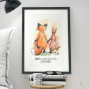 A3 Print Illustration Poster Hase und Fuchs mit Spruch Liebe muss nicht perfekt sein… sondern echt A3 Print illustration poster rabbit and fox with qoute love don't have to be perfect... but real p10