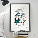 A3 Print Illustration Poster Plakat Zauberer und Einhorn mit Spruch nur Verrückte hier… komm Einhorn wir gehen A3 Print illustration poster magician with unicorn and qoute here are all crazy… come on unicorn let's go p18