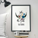 "A3 Print Illustration Poster Plakat Druck Spruch ""take the bull by the horns"" A3 Print illustration poster saying take the bull by the horns p20"