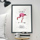 "A3 Print Illustration Poster Plakat Vogel Flamingo mit Spruch ""lass mich..."" A3 Print illustration poster print bird flamingo with qoute ""leave me..."" p30"