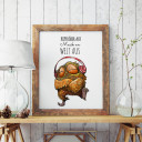 A3 Print Illustration Poster Plakat Eulchen Eule mit Spruch Kopfhörer auf Musik an Welt aus A3 print illustration poster placard owl with quote saying headphones on music on world off p45