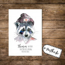 A6 Postkarte Karte Print Illustration Flyer Waschbär mit Spruch Sprichwort Motto Slogan Zitat Flausen im Kopf A6 postcard card print illustration racoon with quote saying sentence motto slogan nonsense in the head pk04
