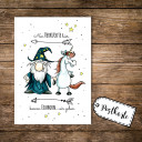 A6 Postkarte Karte Zauberer Magier und Einhorn mit Spruch nur Verrückte hier komm Einhorn... wir gehen A6 Postcard card print wizard magician sorcerer and unicorn with quote saying only crazy people here come on unicorn we go pk08