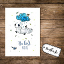 A6 Postkarte Karte Print Nilpferd mit Wolke Vögel und Spruch Du bist woau A6 postcard card print hippo with cloud birds and quote saying you are woau pk15