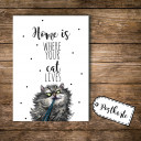 A6 Postkarte Ansichtskarte Flyer Katze mit Spruch Home is where your cat lives A6 postcard print cat with quote saying Home is where your cat lives pk092